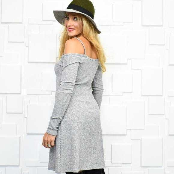 RIBBED DRESS - GRAY | MODA ME COUTURE