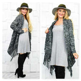 Draped Cardigan with Fringe Hem-Sweater-Moda Me Couture