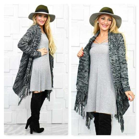 BLACK FRINGE HEM DRAPED CARDIGAN
