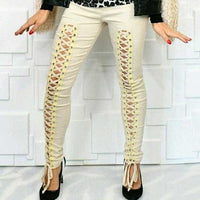 Lace Up Front Pants Beige-Pants-Moda Me Couture