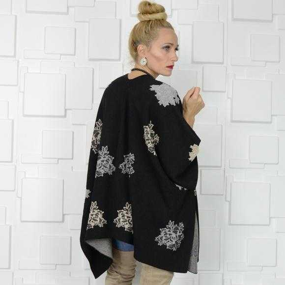 LACE UP DETAILED PONCHO/SWEATER | MODA ME COUTURE