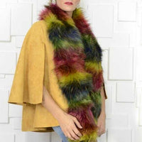RAINBOW FAUX FUR SCARF | MODA ME COUTURE