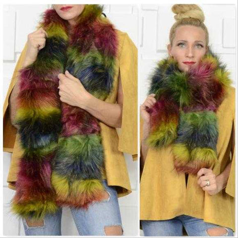 RAINBOW FAUX FUR SCARF