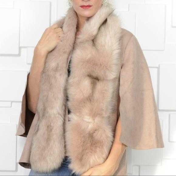 BLUSH PINK FAUX FUR SCARF
