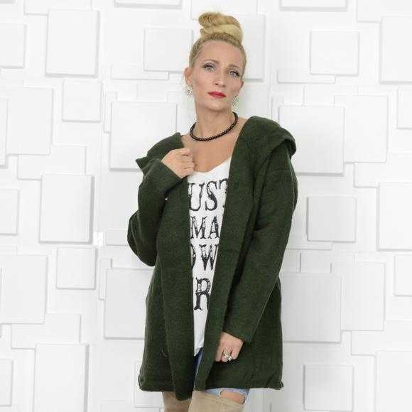 KERISMA OLIVE GREEN HOODED CARDIGAN - MODA ME COUTURE