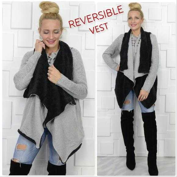 BLACK/GRAY REVERSABLE VEST FAUX FUR - MODA ME COUTURE