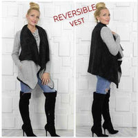 Reversible Vest with Black Faux fur-Jackets & Coats-Moda Me Couture