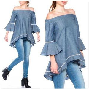 BELL SLEEVED TOP - BLUE - MODA ME COUTURE