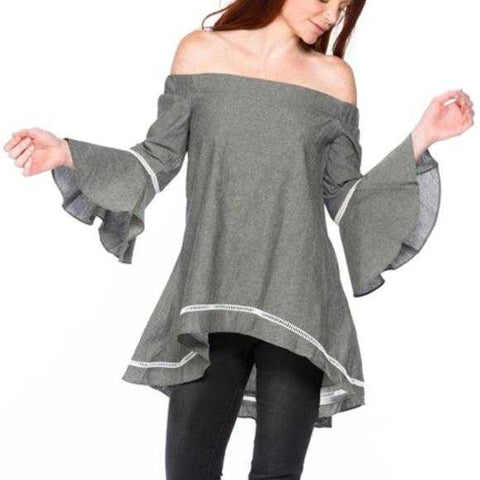 BELL SLEEVED TOP - GRAY - MODA ME COUTURE
