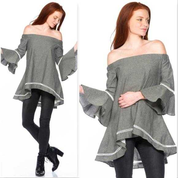 Top with Bell Sleeves Gray-Tops-Moda Me Couture