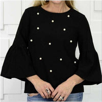 Chic Pearl Detail Top-Tops-Moda Me Couture