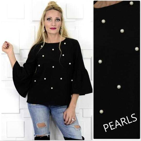 CHIC PEARL DETAIL TOP - MODA ME COUTURE