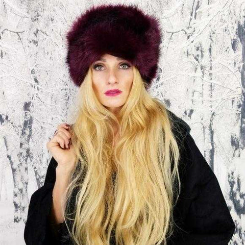 Russian Hat Burgundy Faux Fur | MODA ME COUTURE