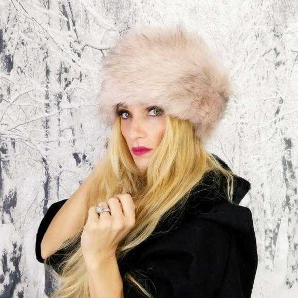 Russian Faux Fur Hat Blush Pink-Accessories-Moda Me Couture