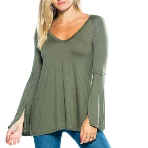 Olive Green Bell Sleeved Top-Tops-Moda Me Couture