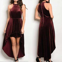 Holly Burgundy Velvet dress-Dress-Moda Me Couture