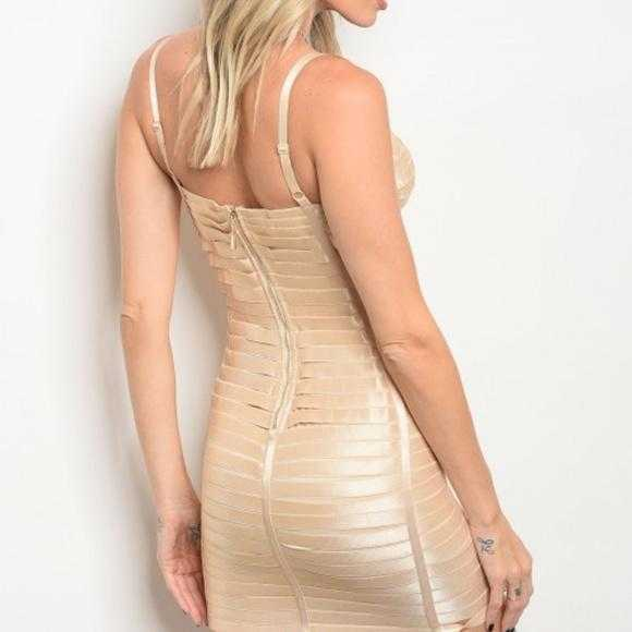 BANDAGE BODYCON DRESS - NUDE - MODA ME COUTURE