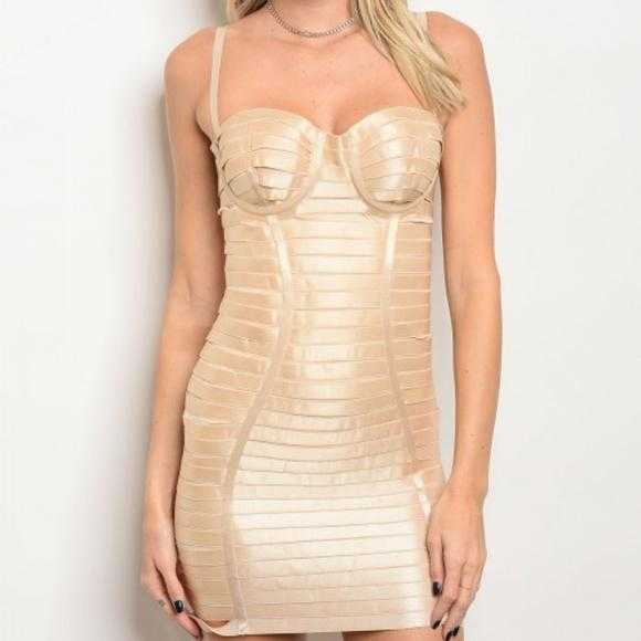 Bandage Bodycon Dress- Nude | MODA ME COUTURE