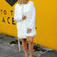 Cream Faux Fur Coat Vest-Jackets & Coats-Moda Me Couture
