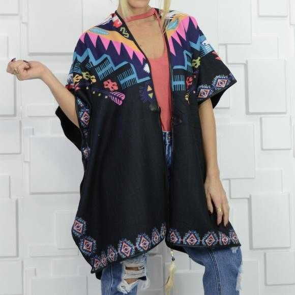 Colorful Poncho Wrap-Sweater-Moda Me Couture ®