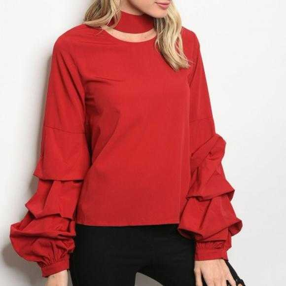 Valentine Ruffle Blouse Top Burgundy-Tops-Moda Me Couture