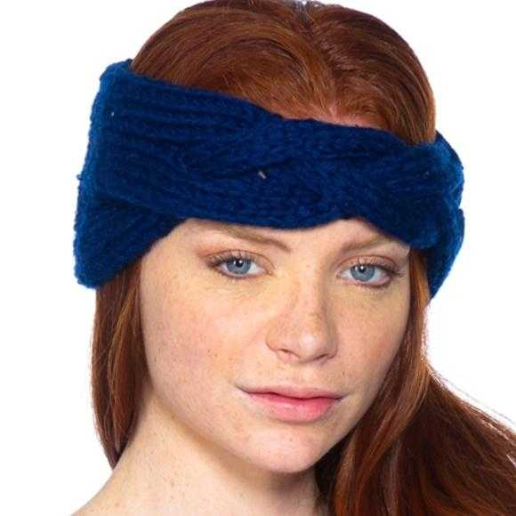 Navy Blue Knitted Headband-Accessories-Moda Me Couture