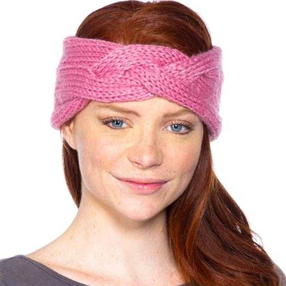 Pink Knit Headband-Accessories-Moda Me Couture