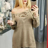 Mocha Lace-Up Oversized Sweater-Sweater-Moda Me Couture ®