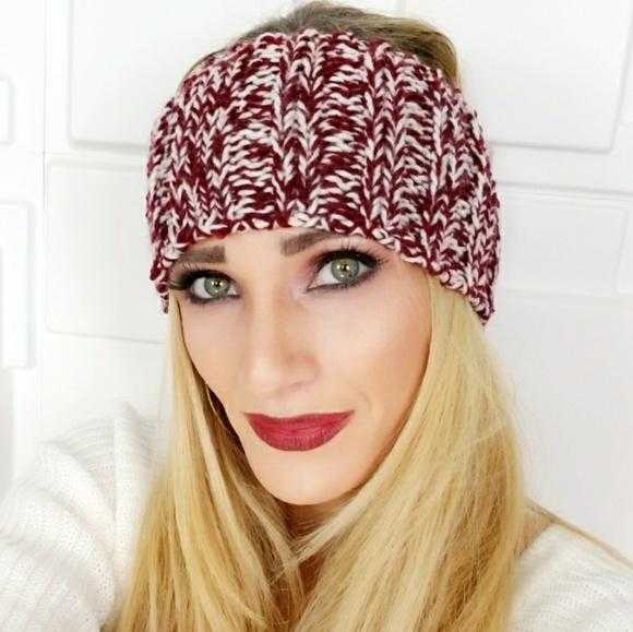 Burgundy Knitted Headband-Accessories-Moda Me Couture