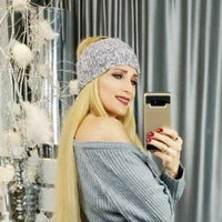 Gray Knitted Headband-Accessories-Moda Me Couture
