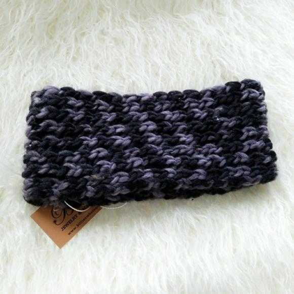 KNITTED HEADBAND Black&Gray