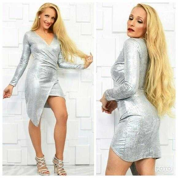 Metallic Silver Dress-Dress-Moda Me Couture