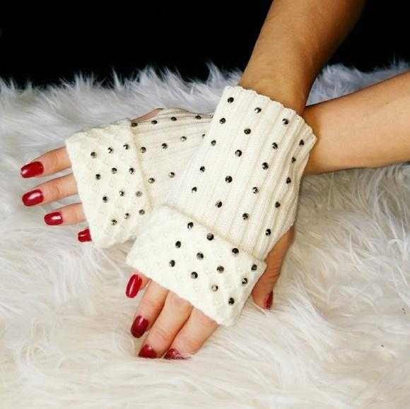 Rhinestone Fingerless Mittens Gloves Cream-Accessories-Moda Me Couture