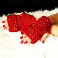Rhinestone Fingerless Mittens Burgundy-Accessories-Moda Me Couture