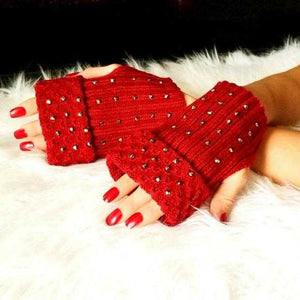 BURGUNDY FINGERLESS MITTENS