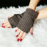 Rhinestone Fingerless Mittens Gloves Gray-Accessories-Moda Me Couture