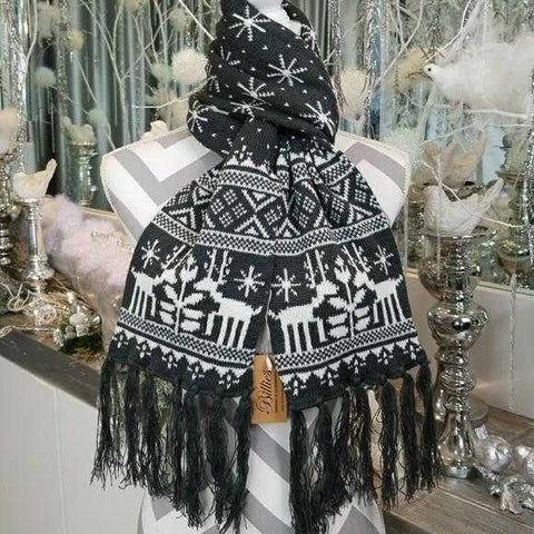 WINTER SCARF WITH FRINGE-gray