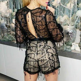 Black Sequin romper-Pants-Moda Me Couture