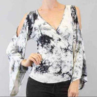 Tie-Die Flared Sleeve Top Gray-Tops-Moda Me Couture