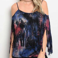 Tie-Die Flared Sleeve Top Purple-Tops-Moda Me Couture