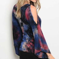 TIE DYE FLARED SLEEVED TOP | MODA ME COUTURE
