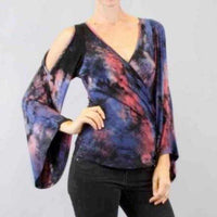 Tie-Die Flared Sleeve Top Multicolor-Tops-Moda Me Couture