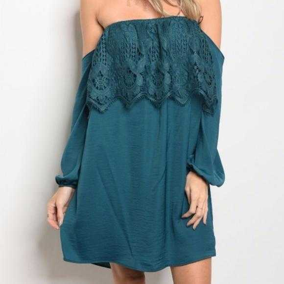 Delmara Off Shoulder Teal Dress-Dress-Moda Me Couture