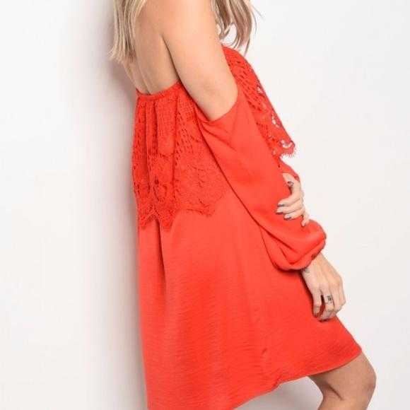 OFF SHOULDER DRESS - ORANGE - MODA ME COUTURE