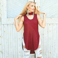 Amore Burgundy Choker Top-Tops-Moda Me Couture