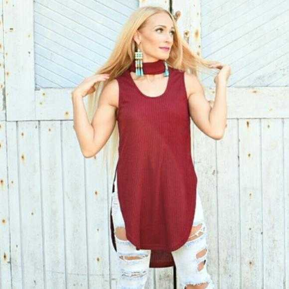 AMORE RED CHOKER TOP - MODA ME COUTURE