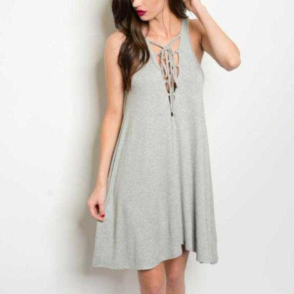 Lace-Up Dress Gray-Dress-Moda Me Couture