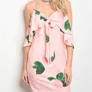 PINK FLORAL DRESS - MODA ME COUTURE