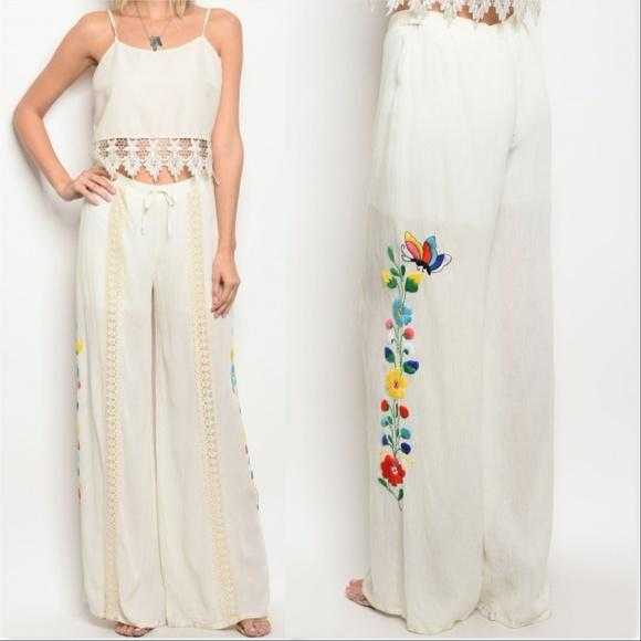 Embroider Wide Leg Pants-Pants-Moda Me Couture