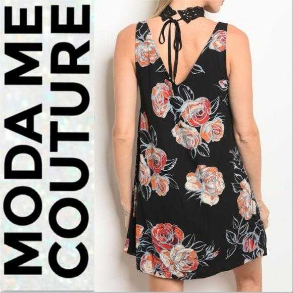 BLACK FLORAL PRINT DRESS - MODA ME COUTURE